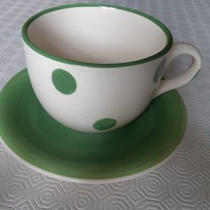 2/25$******Large ceramic mug and saucer made in Italy